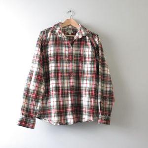 LL Bean Scotch Plaid Flannel Shirt, Relaxed M